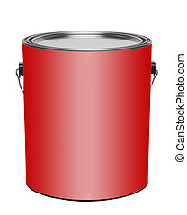 Red gallon paint can, isolated
