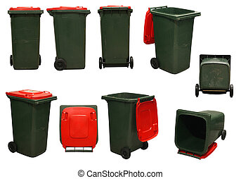 red garbage bins - several red garbage bins isolated on...