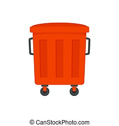 Red garbage box icon, flat style
