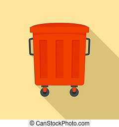 Red garbage box icon. Flat illustration of red garbage box vector icon for web design