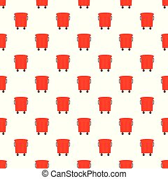 Red garbage box pattern seamless vector repeat for any web design