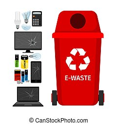 Red garbage can with e-waste elements