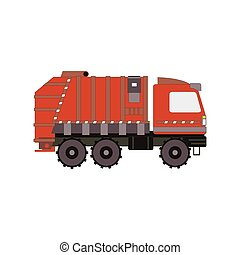 Red garbage truck isolated on white background. Side view cartoon rubbish vehicle. Vector illustration