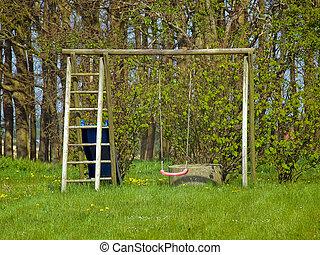 Red garden swing