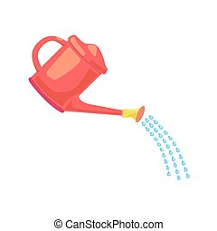 Red Garden Water can sprays water drops clip art. Gardening design element. Irrigation symbol. Simple illustration from General concept. Flat vector illustration isolated white background.