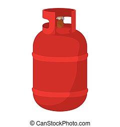 Red gas bottle cartoon icon - Gas bottle cartoon icon. Red...