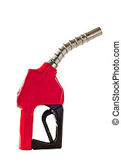 Red Gas Fuel Pump Nozzle Vertical - Vertical s hot of a red ...
