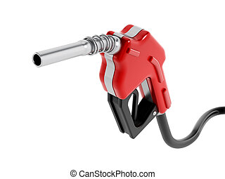 Red gas nozzle isolated on white background.