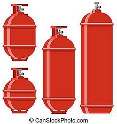 Red Gas Tank Icon Set