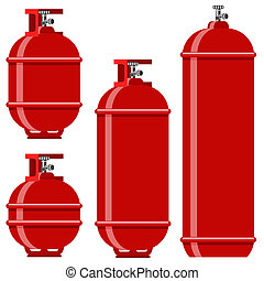 Red Gas Tank Icon Set