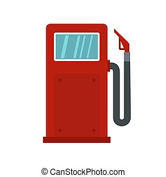 Red gasoline pump icon, flat style