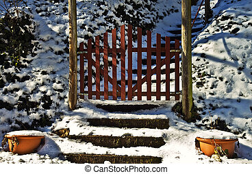 Red Gate in the Snow