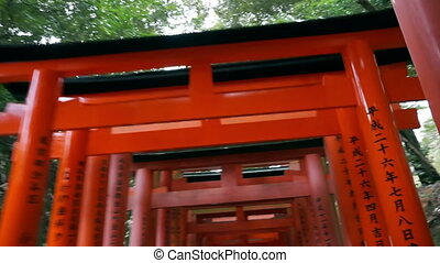 Red gate torii temple Kyoto, Japan - Red gate torii at...