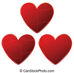 red gear hearts set