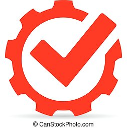 Red gear tick icon, abstract technology symbol