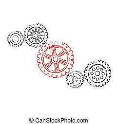Red gear with black gears