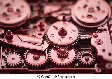 Red gears and cogs