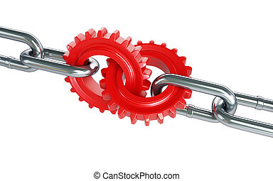 red gears chain links