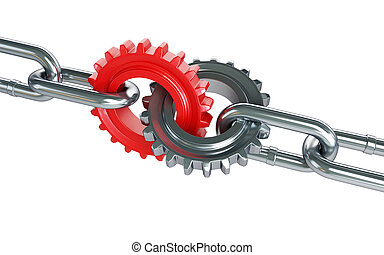 red gears chain links on a white background