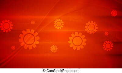 Red gears on wavy background video animation