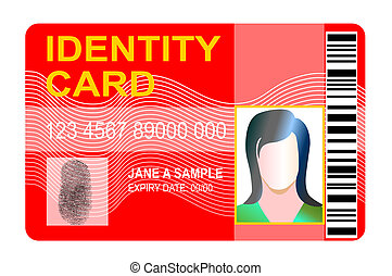 Red generic ID card - Illustration of a red generic ID card...