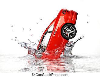 Red generic sedan car, falling into water splashing....