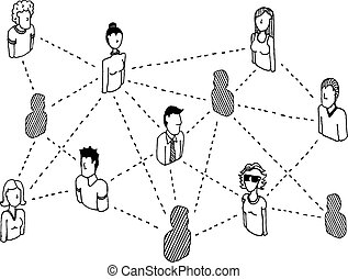 red, gente, /, de conexión, relaciones, social