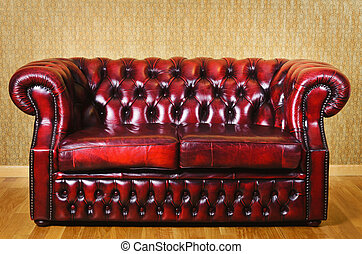 Leather Sofa - Red Genuine Leather Sofa Near The Wall