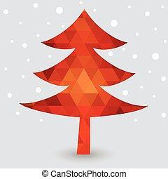 Red geometric Christmas tree