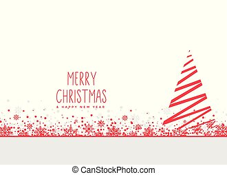 red geometric christmas tree with snowflakes on white background