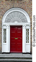 Red Georgian door - Georgian doorway in Dublin, Ireland,...