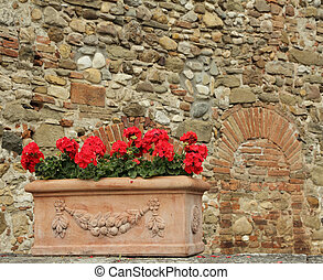 red geranium flowers in elegant ceramic box, at background...