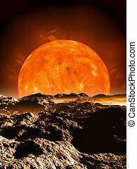 Red Giant - Dying red giant sun setting over the horizon of ...