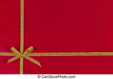 Red gift background with gold ribbon - Red background of...