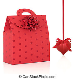 Red Gift Bag and Heart Shaped Bauble