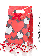 Red gift bag, isolated