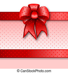 Red gift bow card note