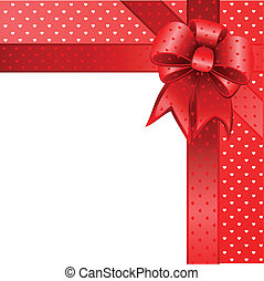 Red gift bow card note vector - Illustration vector Happy...