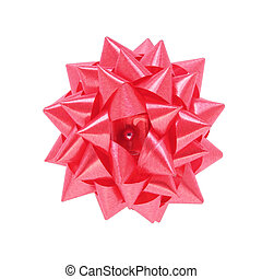 red gift bow isolated on white background with clipping path