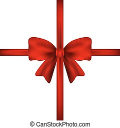 Red gift bow of ribbon isolated