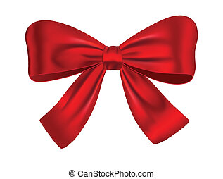 Red satin gift bow isolated on white background. Ribbon. Vector illustration