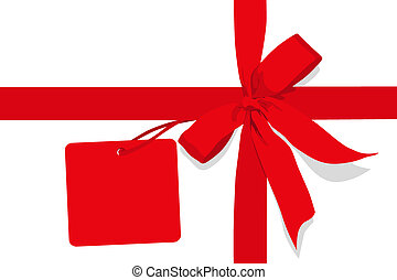 Red gift bow. Ribbon. on white background