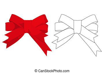 Red gift bow. Ribbon. on white bakcground