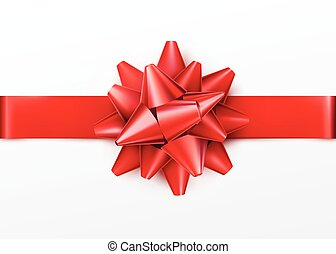 Red gift bow with horizontal ribbon. Isolated on white background