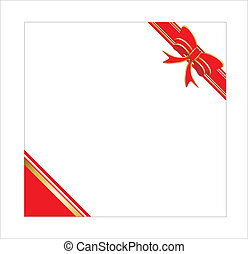 Red gift bow with ribbon. Vector.