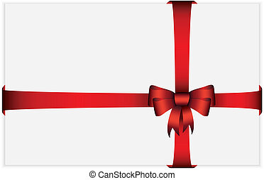 Red gift bow with ribbons, vector i