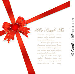 red gift bows with ribbon and heart