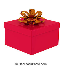 Red gift box 3d.