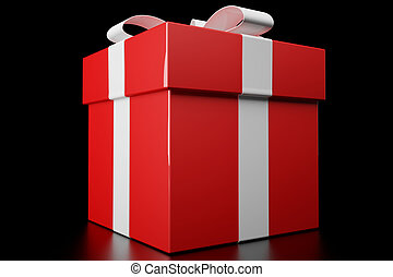 Red gift box - 3d render of a red gift box on black ...