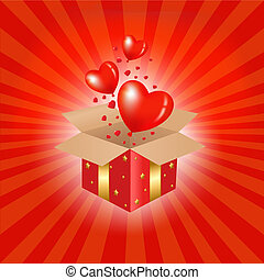 Red Gift Box And Hearts